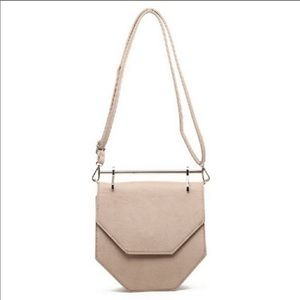 Beige/Gold Hexagon Crossbody